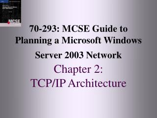 70-293: MCSE Guide to Planning a Microsoft Windows Server 2003 Network Chapter 2:  TCP/IP Architecture