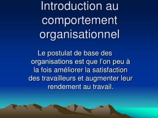 Introduction au comportement organisationnel