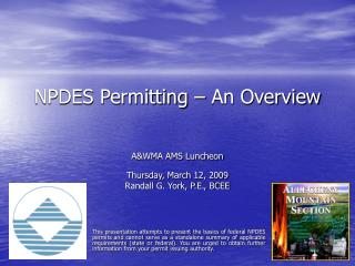 NPDES Permitting – An Overview