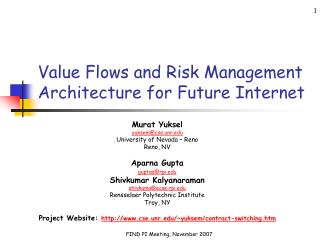 Value Flows and Risk Management Architecture for Future Internet