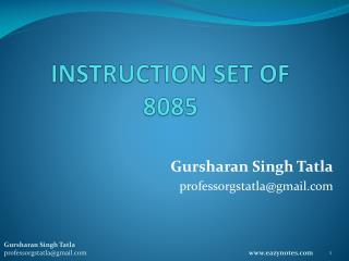 INSTRUCTION SET OF 8085