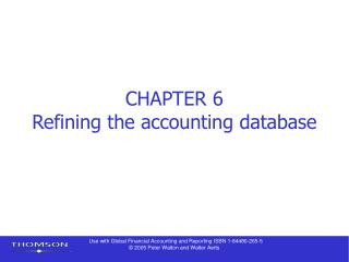 CHAPTER 6 Refining the accounting database