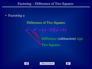Factoring – Difference of Two Squares