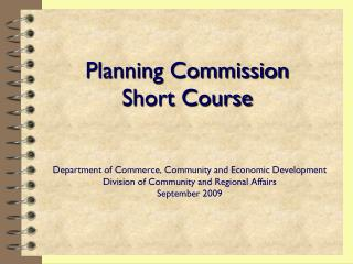 Planning Commission Short Course