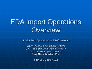 FDA Import Operations Overview
