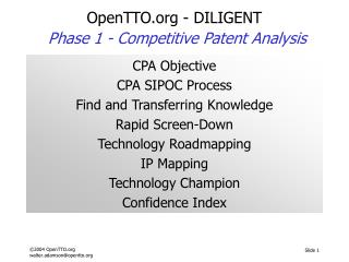 OpenTTO - DILIGENT Phase 1 -  Competitive Patent Analysis