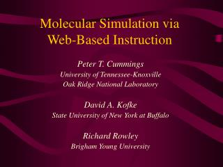 Molecular Simulation via  Web-Based Instruction