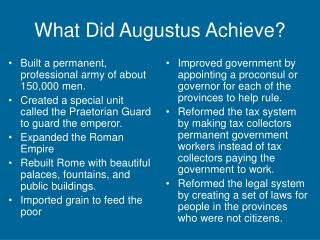 What Did Augustus Achieve?