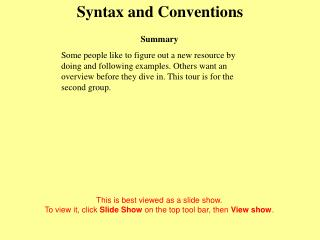 Syntax and Conventions