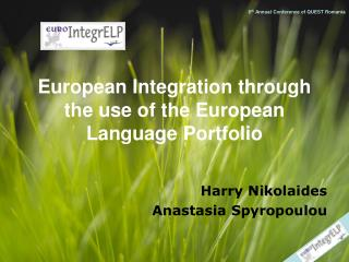 European Integration through the use of the European Language Portfolio
