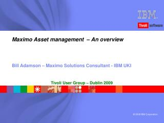 Maximo Asset management  – An overview