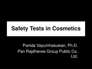 Safety Tests in Cosmetics