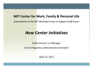 MIT Center for Work, Family & Personal Life