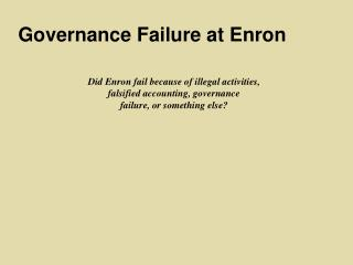 Governance Failure at Enron