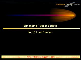 Enhancing - Vuser Scripts In HP LoadRunner