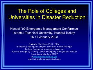 The Role of Colleges and Universities in Disaster Reduction