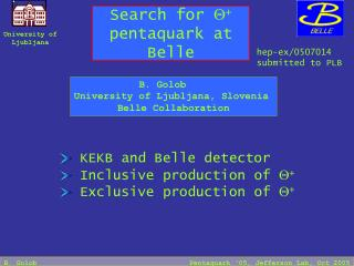 Search for  Q +  pentaquark at Belle