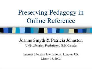 Preserving Pedagogy in Online Reference