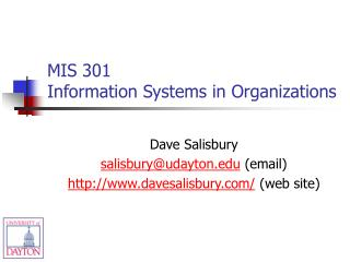 MIS 301 Information Systems in Organizations