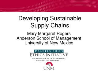 Developing Sustainable Supply Chains