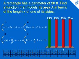 A rectangle has a perimeter of 30 ft. Find a function that models its area A in terms of the length x of one of its side