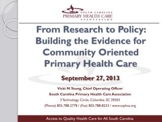 From Research to Policy: Building the Evidence for Community Oriented Primary Health Care