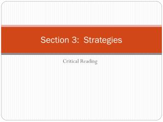Section 3:  Strategies