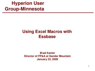 Using Excel Macros with Essbase