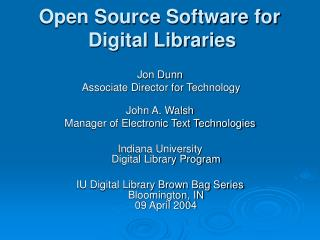 Open Source Software for