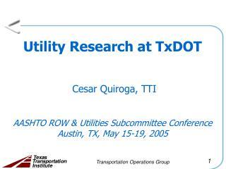 Utility Research Plan at TxDOT