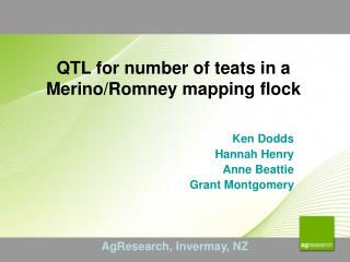 QTL for number of teats in a Merino/Romney mapping flock