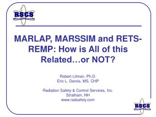 MARLAP, MARSSIM and RETS-REMP: How is All of this Related…or NOT?