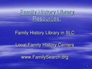 Family History Library Resources:
