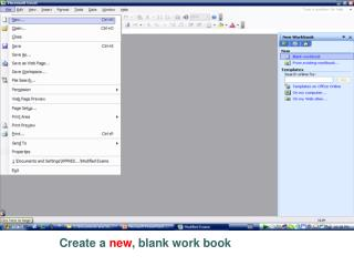 Create a  new , blank work book