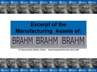 Excerpt of the Manufacturing  Assets of:
