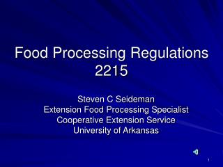 Food Processing Regulations 2215