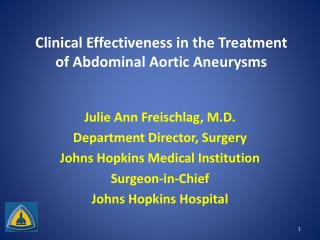 Clinical Effectiveness in the Treatment of Abdominal Aortic Aneurysms