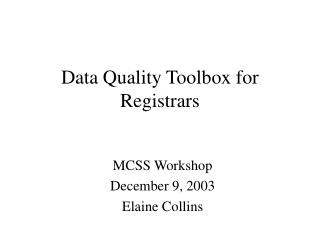 Data Quality Toolbox for Registrars