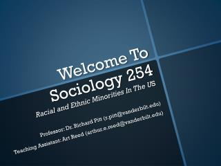 Welcome To Sociology 254