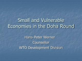 Small and Vulnerable Economies in the Doha Round