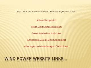 Wind power website links...