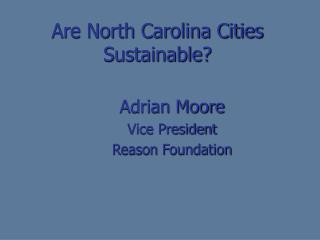 Are North Carolina Cities Sustainable?