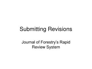 Submitting Revisions