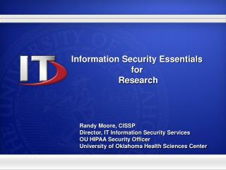 Information Security Essentials  for  Research