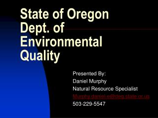 State of Oregon Dept. of Environmental Quality