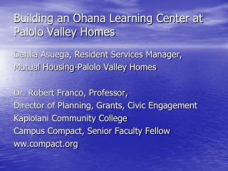 Building an Ohana Learning Center at Palolo Valley Homes