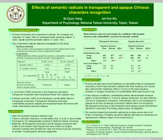 Effects of semantic radicals in transparent and opaque Chinese characters recognition