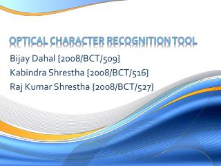 Optical Character Recognition Tool