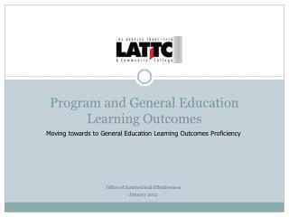 Program and General Education  Learning Outcomes