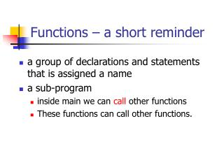 Functions – a short reminder